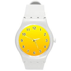 Yellow To Chrome Yellow Gradient Plastic Sport Watch (medium) by BestCustomGiftsForYou