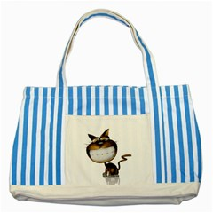 Funny Cat Blue Striped Tote Bag by cutepetshop