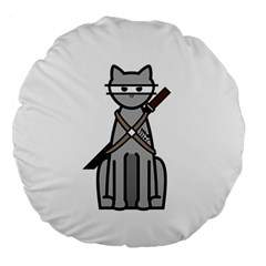 Ninja Cat 18  Premium Round Cushion  by cutepetshop