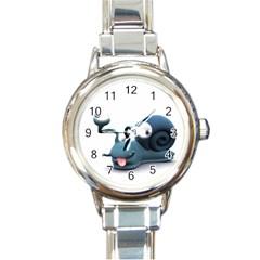 Funny Snail Round Italian Charm Watch by cutepetshop
