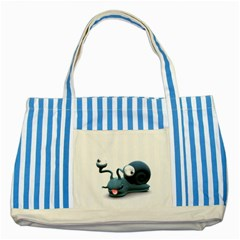 Funny Snail Blue Striped Tote Bag by cutepetshop