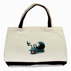 Funny Snail Twin Sided Black Tote Bag by cutepetshop