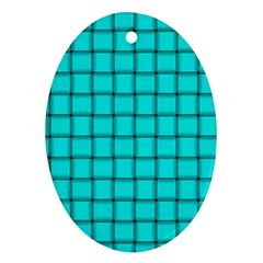 Cyan Weave Oval Ornament (two Sides) by BestCustomGiftsForYou
