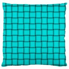 Cyan Weave Large Cushion Case (one Side) by BestCustomGiftsForYou