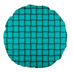 Cyan Weave 18  Premium Round Cushion  by BestCustomGiftsForYou