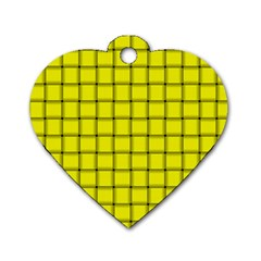 Yellow Weave Dog Tag Heart (two Sided) by BestCustomGiftsForYou