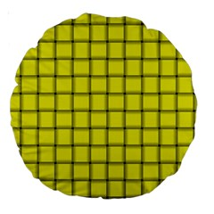 Yellow Weave 18  Premium Round Cushion  by BestCustomGiftsForYou