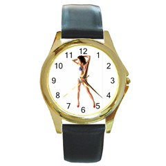 Usa Girl Round Metal Watch (gold Rim)  by hlehnerer