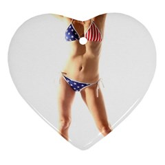 Usa Girl Heart Ornament (two Sides) by hlehnerer