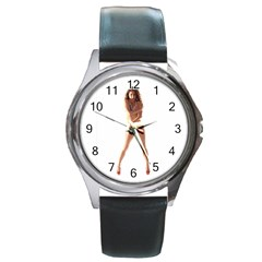 Usa Girl Round Metal Watch (silver Rim) by hlehnerer
