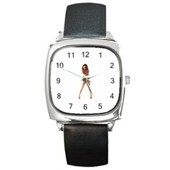 Usa Girl Square Leather Watch by hlehnerer