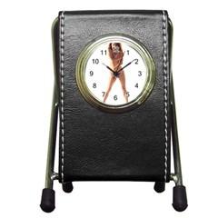 Usa Girl Stationery Holder Clock by hlehnerer