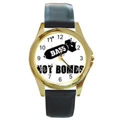 Drop Bass Not Bombs Round Gold Metal Watch by Lab80