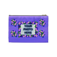 Lavender Flower Medium Cosmetic Bag By Joy Johns   Cosmetic Bag (medium)   Cn8cygz2bvyv   Www Artscow Com Back