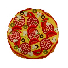 Pizza By Divad Brown   Standard 15  Premium Round Cushion    Tvw33h3yigee   Www Artscow Com Back