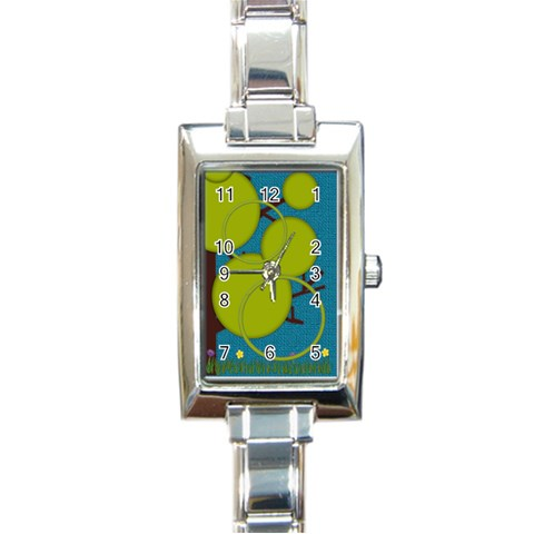 Watch With Tree By Zornitza   Rectangle Italian Charm Watch   Thzeyhricd2q   Www Artscow Com Front