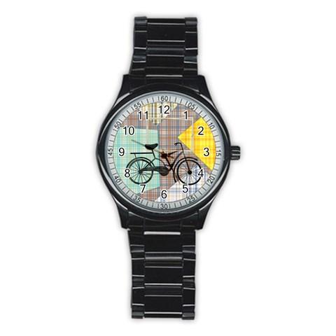 Bike In Patchwork Men`s Watch By Zornitza   Stainless Steel Round Watch   Abfg0ovy25mu   Www Artscow Com Front