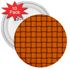 Orange Weave 3  Button (10 Pack) by BestCustomGiftsForYou