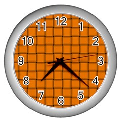 Orange Weave Wall Clock (silver) by BestCustomGiftsForYou