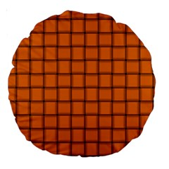 Orange Weave 18  Premium Round Cushion  by BestCustomGiftsForYou