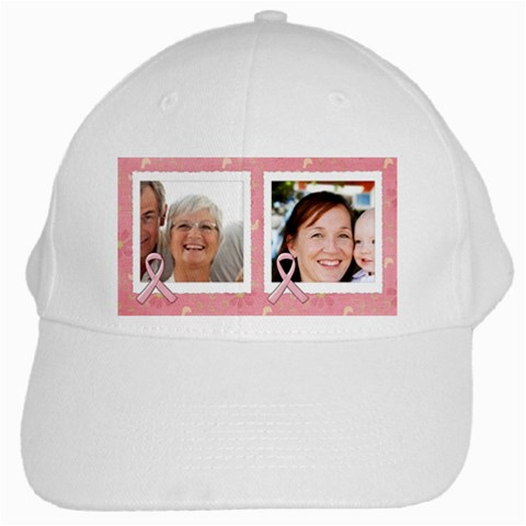 I Walk For These Women Breast Cancer Awareness  Ribbon, White Cap By Mikki   White Cap   R0kih3nv38fm   Www Artscow Com Front