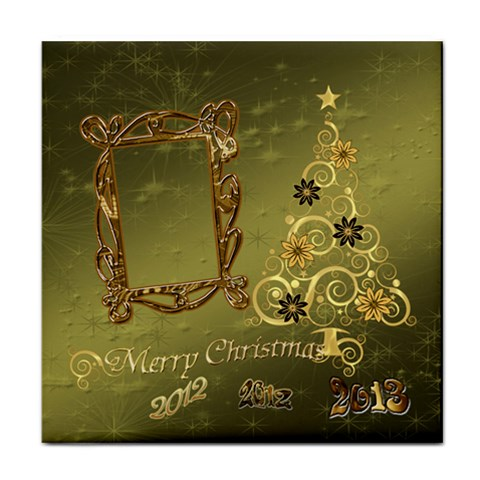 Merry Christmas 2013 Green Gold2 Face Towel By Ellan   Face Towel   Bf5eoi6cbndo   Www Artscow Com Front