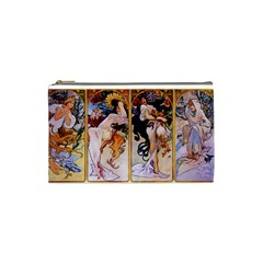 Four Seasons By Alphonse Mucha 1895 Cosmetic Bag (Small) by EndlessVintage