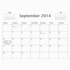 2014 Cal By Megan   Wall Calendar 11  X 8 5  (12 Months)   Qf66btilll6f   Www Artscow Com Sep 2014