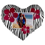 Zebra flowers and love- heart cushion - Large 19  Premium Heart Shape Cushion