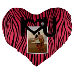Zebra Flowers And Love  Heart Cushion By Mikki   Large 19  Premium Heart Shape Cushion   Ijgtg4eji2pl   Www Artscow Com Back