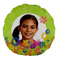 Bright Flowers Spring Girls Round Cushion By Mikki   Large 18  Premium Round Cushion    Po6zed7udppi   Www Artscow Com Back