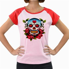 Sugar Skull Women s Cap Sleeve T-Shirt (Colored) by EndlessVintage