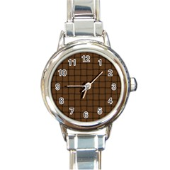 Brown Nose Weave Round Italian Charm Watch by BestCustomGiftsForYou