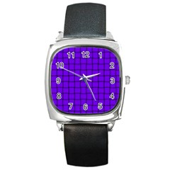 Violet Weave Square Leather Watch by BestCustomGiftsForYou