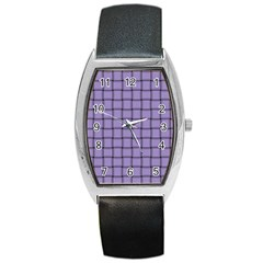 Light Pastel Purple Weave Tonneau Leather Watch by BestCustomGiftsForYou