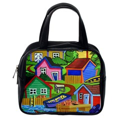 Three Boats & A Fish Table Classic Handbag (one Side) by reillysart