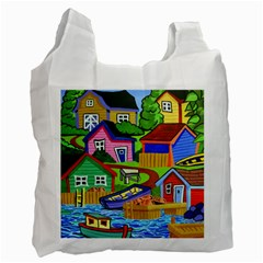 Three Boats & A Fish Table Recycle Bag (one Side) by reillysart