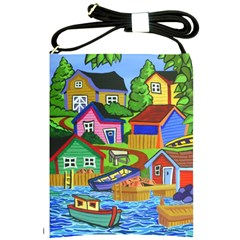 Three Boats & A Fish Table Shoulder Sling Bag by reillysart