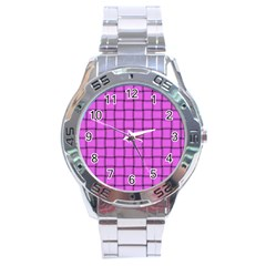 Ultra Pink Weave  Stainless Steel Watch (men s) by BestCustomGiftsForYou