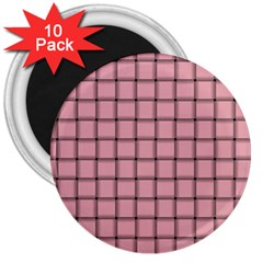 Light Pink Weave 3  Button Magnet (10 Pack) by BestCustomGiftsForYou