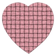 Light Pink Weave Jigsaw Puzzle (heart) by BestCustomGiftsForYou