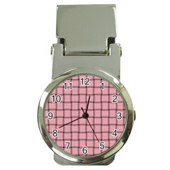 Light Pink Weave Money Clip With Watch