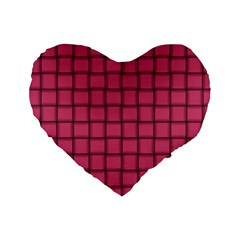 Dark Pink Weave 16  Premium Heart Shape Cushion  by BestCustomGiftsForYou