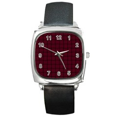 Dark Scarlet Weave Square Leather Watch by BestCustomGiftsForYou
