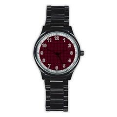 Dark Scarlet Weave Sport Metal Watch (black) by BestCustomGiftsForYou