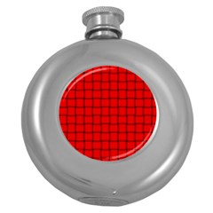 Red Weave Hip Flask (round) by BestCustomGiftsForYou