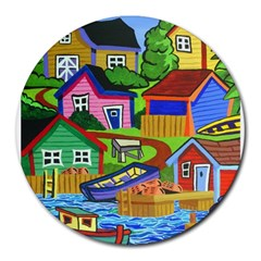 Three Boats & A Fish Table 8  Mouse Pad (round) by reillysart
