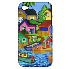 Three Boats & A Fish Table Apple Iphone 4/4s Hardshell Case (pc+silicone) by reillysart