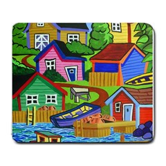 Three Boats & A Fish Table Large Mouse Pad (Rectangle) by reillysart
