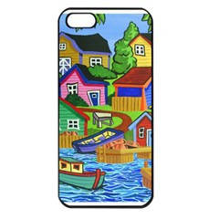 Three Boats & A Fish Table Apple Iphone 5 Seamless Case (black) by reillysart